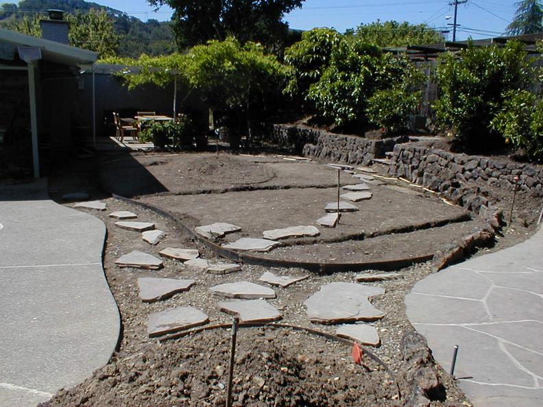 Before- Boulders, Pavers, New Sod & Rock Retaining Wall