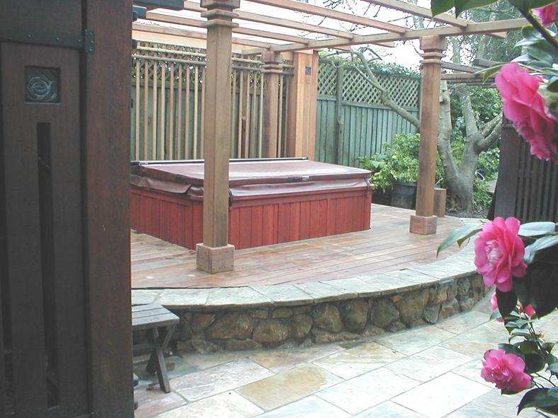 Arbor, Hot Tub & Stone Work