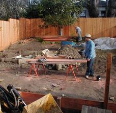 Redwood Fence and Retaining Wall construction