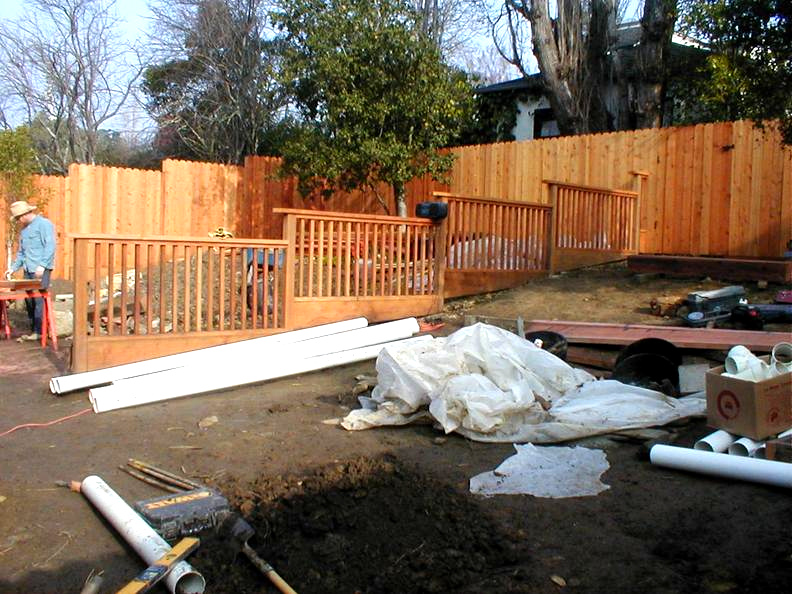 Before- Redwood Fence, Redwood Retaining Wall , Pavers & Plantings